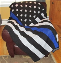 Blue Line Flag Knit Throw Plain (No Embroidery)