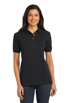 Ladies Cotton Polo Shirt w/USMS Seal-Mono in Black, Large