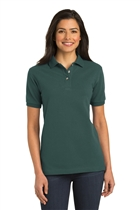 Ladies Cotton Polo Shirt w/USMS Seal-Mono in Dk Green, X-Small