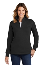 Ladies 1/4 Zip Sweatshirt w/USMS Seal-Mono in Black, Small