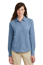 Ladies Denim Shirt w/ ATF Badge; Faded Blue; Large