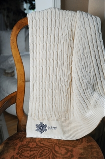 Cotton Cable Throw with Personalized Motif