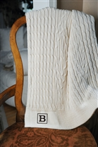 Cotton Cable Throw with Monogram