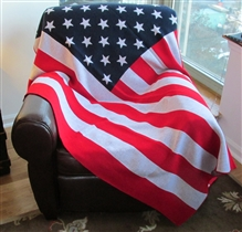 American Flag Knit Throw Plain